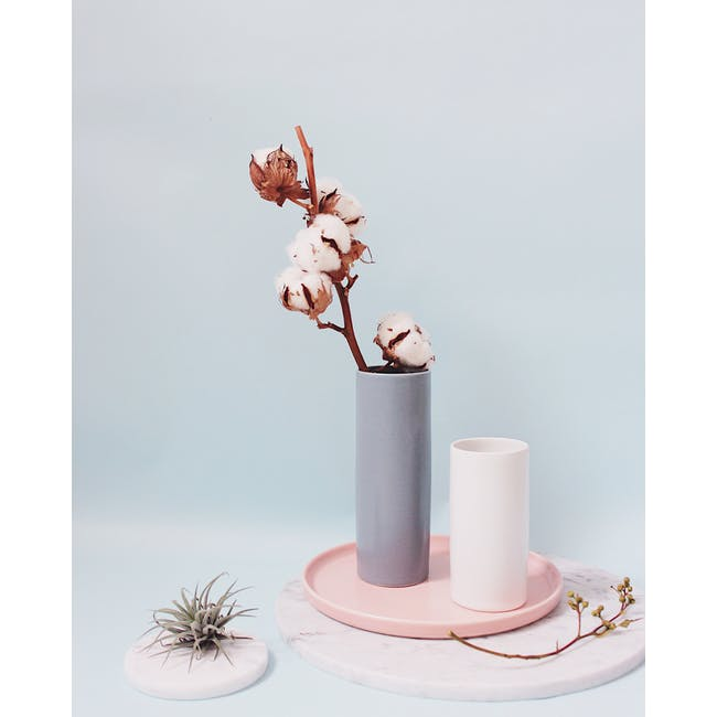 Nordic Matte Vase Small Straight Cylinder - White - 6