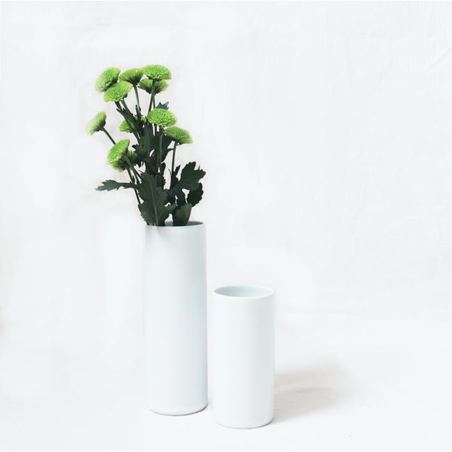 Nordic Matte Vase Small Straight Cylinder - White - 3