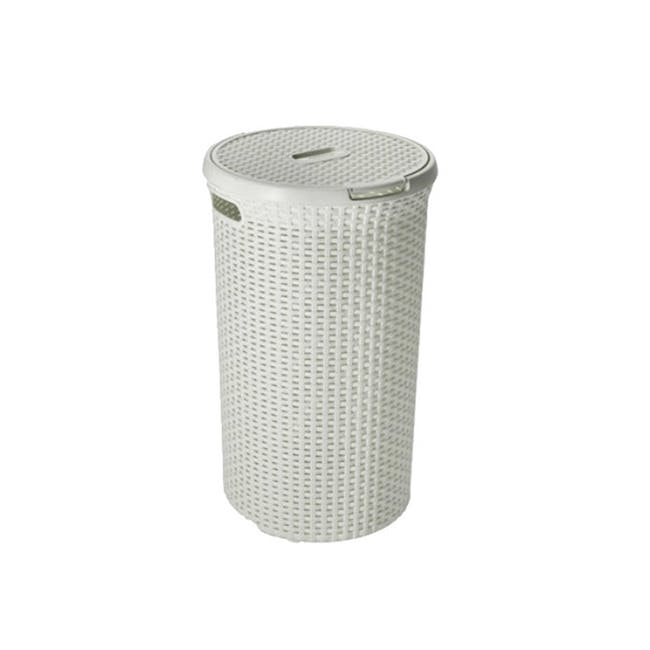 Rattan Style Round Hamper with Lid - Off White - 0