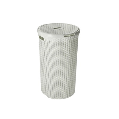 Rattan Style Round Hamper - Off White - Image 1
