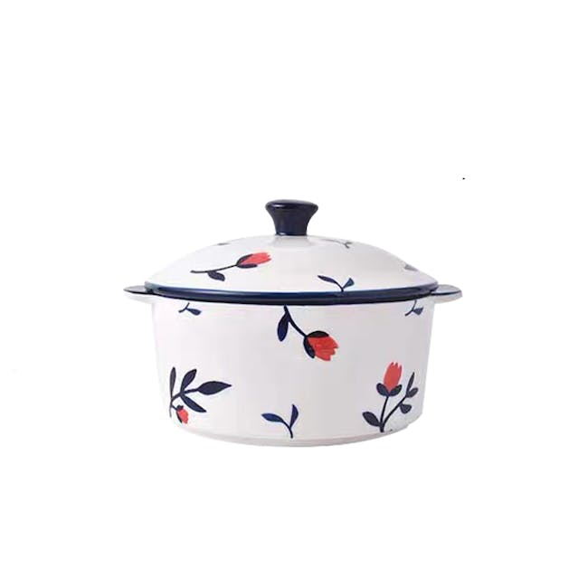 Table Matters Rose Sweet Hand Painted Round Pot with Cover - 0