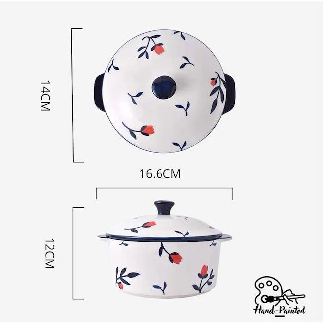 Table Matters Rose Sweet Hand Painted Round Pot with Cover - 2