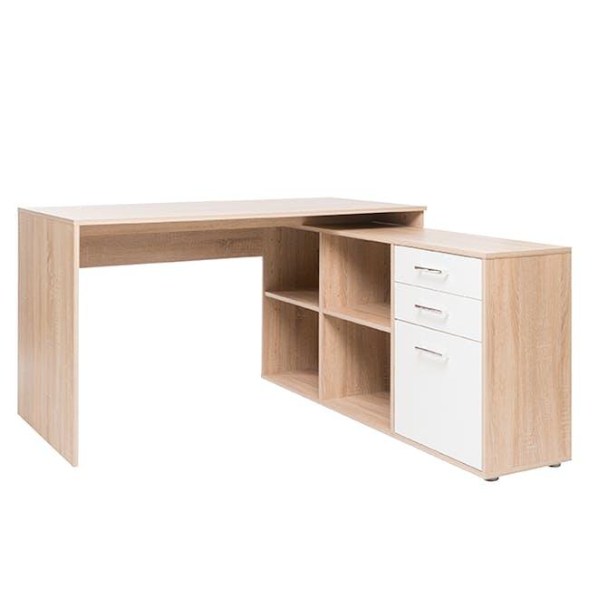 Camden Corner Study Desk - Oak, White - 0