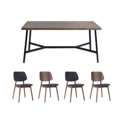 Brittany Dining Table 1.6m with 4 Riley Dining Chairs - Walnut - Image 1