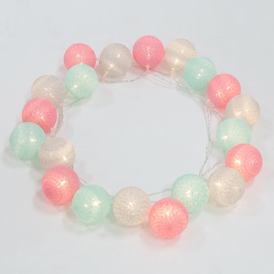 Cotton Ball String Lights - Mint/Pink/Grey - Image 2