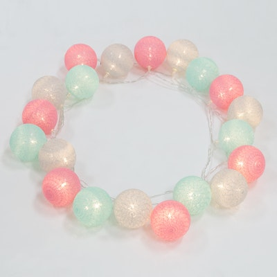 Cotton Ball String Lights - Mint/Pink/Grey