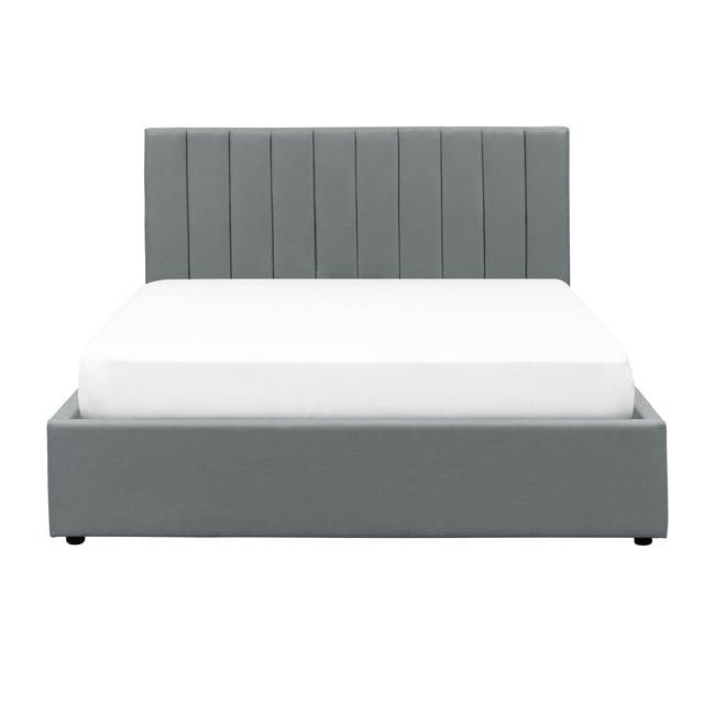 Audrey Queen Storage Bed in Seal Grey with 2 Kyoto Top Drawer Bedside Tables in Walnut - 1