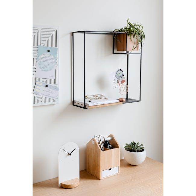 Cubist Large Wall Shelf - Natural, Black - 2
