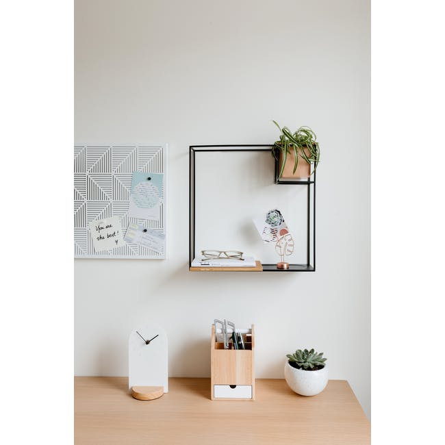 Cubist Large Wall Shelf - Natural, Black - 1