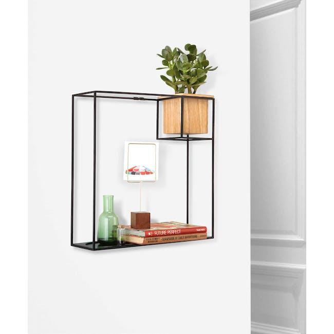 Cubist Large Wall Shelf - Natural, Black - 9