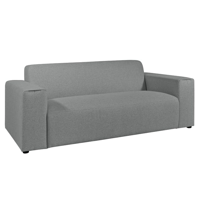 Adam 3 Seater Sofa in Stone with Veronic in Forest Green - 2
