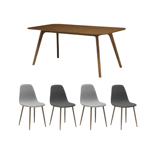 Roden Dining Table 1.8m in Cocoa with 4 Finnley Dining Chairs in Stone Grey and Dark Grey - 0