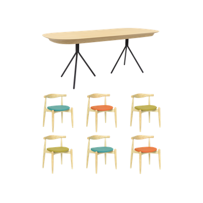 Otto Dining Table 2m with 6 Bouvier Dining Chairs - Oak Veneer - Image 1