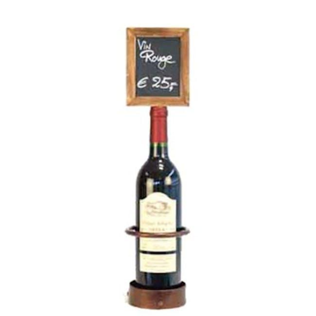 Securit Steel Single Wine Bottle Display with Chalkboard - 1