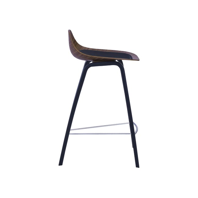 Stacy Counter Chair - Walnut, Onyx (Genuine Cowhide Seat Pad) - 3