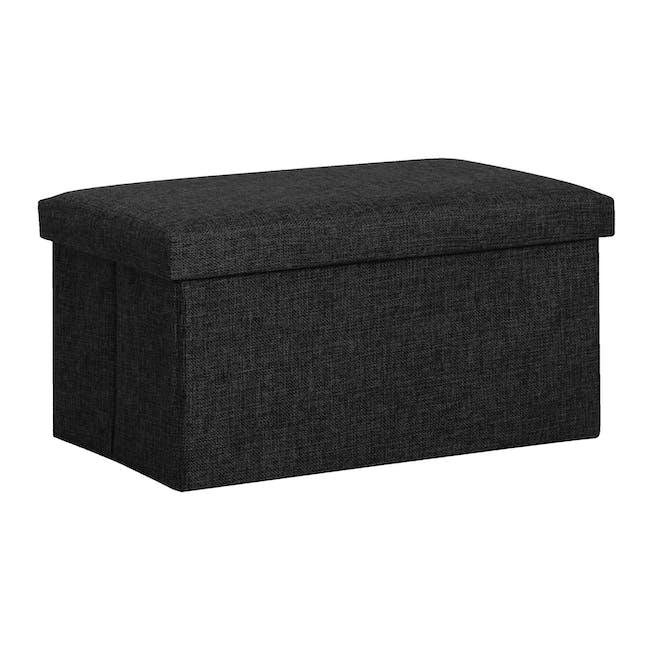 Domo Foldable Storage Bench Ottoman - Black - 0