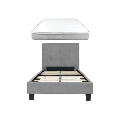 Onyx Single Headboard Bed w/ SLEEP Mattress - Light Grey - Image 1