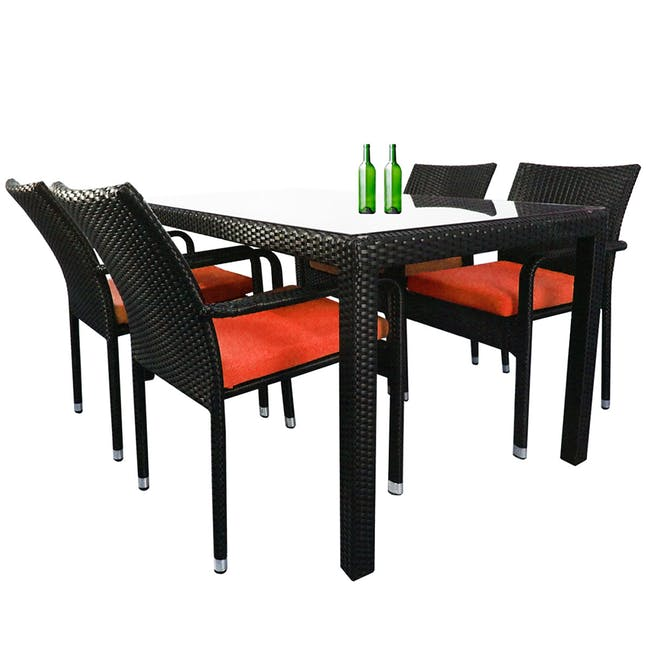 Boulevard Outdoor Dining Set with 4 Chair - Orange Cushion - 1