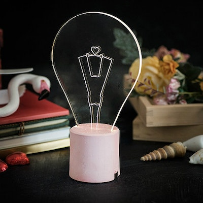 Exposed Bulb Lamp with Heart Engraving - Pink Base