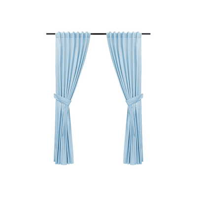 Reysha Cotton Curtain (Set of 2) - Powder Blue - Image 1
