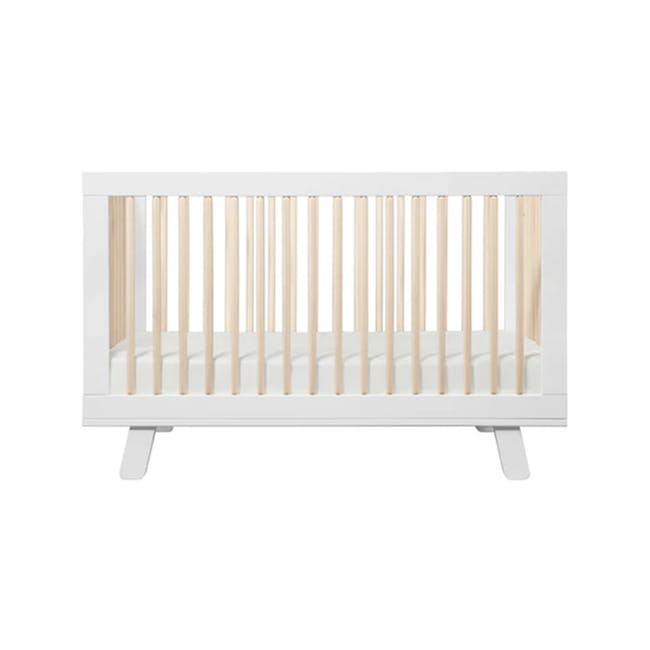Babyletto Hudson 3-in-1 Convertible Crib - White & Washed - 0