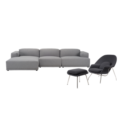 Flex 4 Seater L Shape Sofa with Saarinen Womb Chair with Ottoman - Image 1