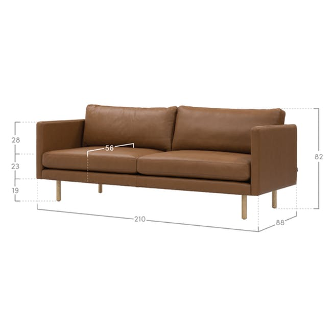 Rexton 3 Seater Sofa - Brown (Genuine Cowhide), Down Feathers - 4