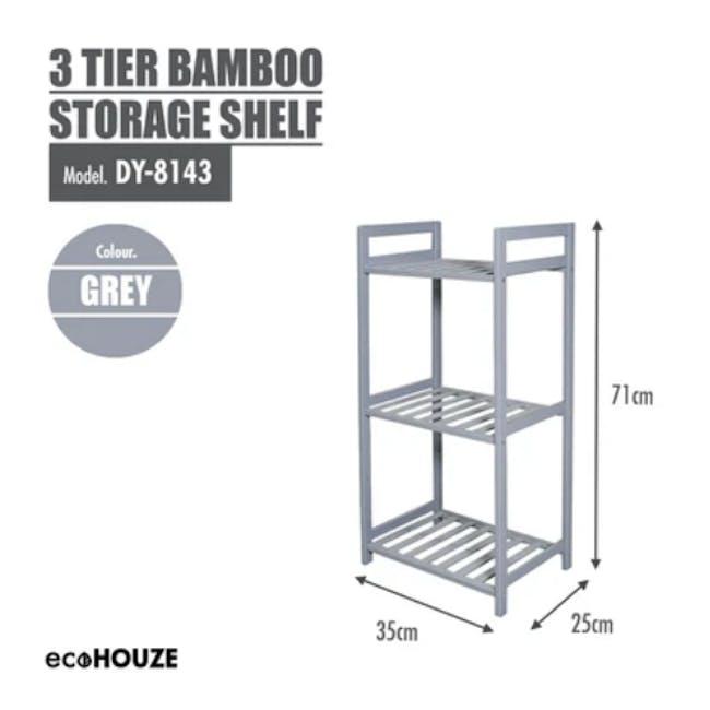 Ecohouze 3 Tier Bamboo Storage Shelf - Grey (2 Sizes) - 2