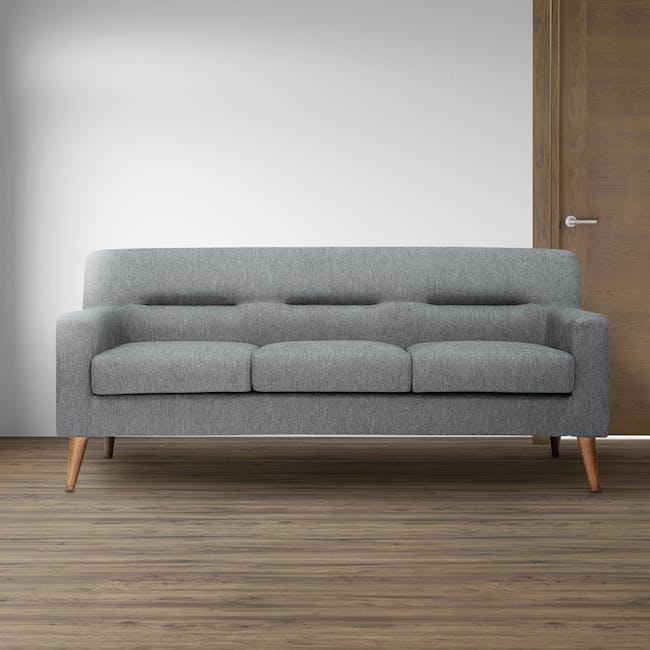Damien 3 Seater Sofa - Heather Grey - 1