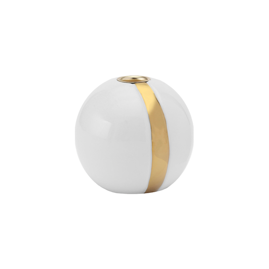 Laholm - Kayla Candle Holder - White with Vertical Gold Line
