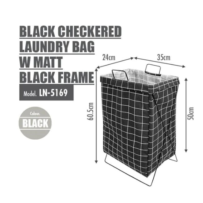 HOUZE Laundry Bag with Matt Steel Frame - Black Checkered - 2