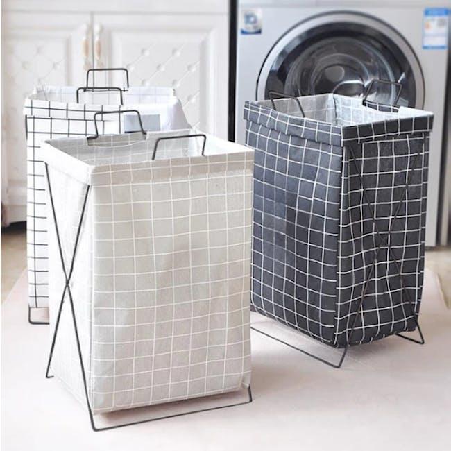 HOUZE Laundry Bag with Matt Steel Frame - Black Checkered - 1