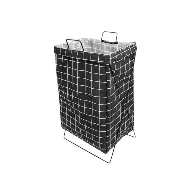 HOUZE Laundry Bag with Matt Steel Frame - Black Checkered - 0