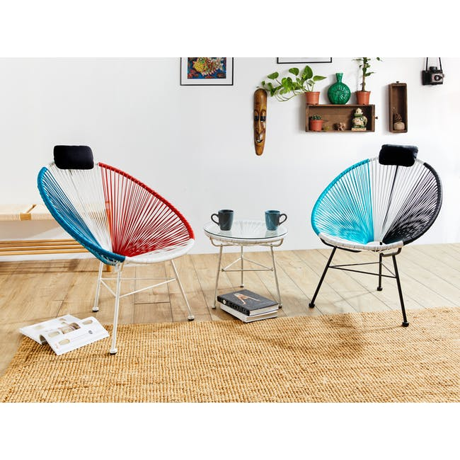 Acapulco Lounge Chair - Blue, White, Red Mix - 1
