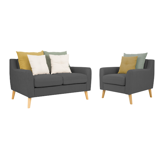Loveseat With Evan Armchair Charcoal