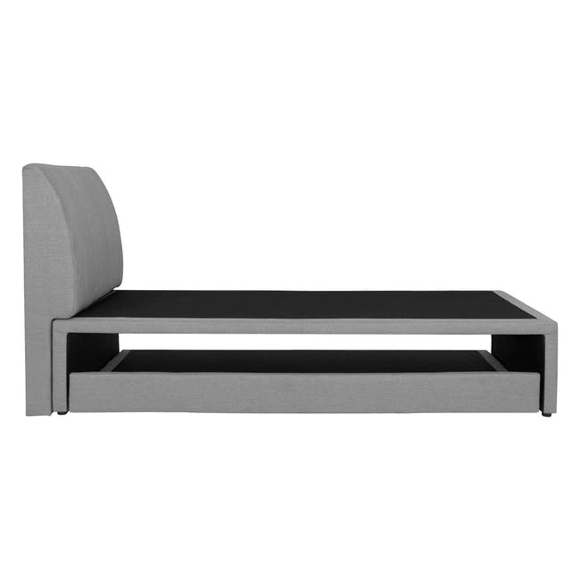 ESSENTIALS Super Single Trundle Bed - Grey (Fabric) - 5