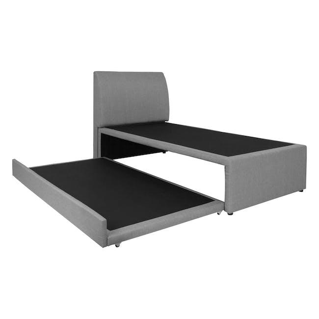 ESSENTIALS Super Single Trundle Bed - Grey (Fabric) - 1