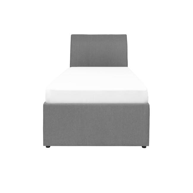 ESSENTIALS Super Single Trundle Bed - Grey (Fabric) - 0