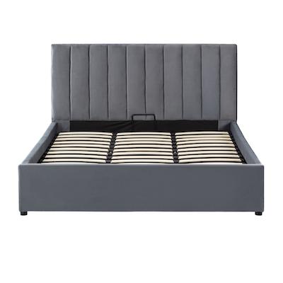 Audrey King Storage Bed - Grey (Velvet) - Image 1