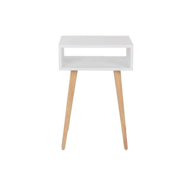 Katana Super Single Headboard Bed with 1 Bowen Bedside Table in Natural, White - 13