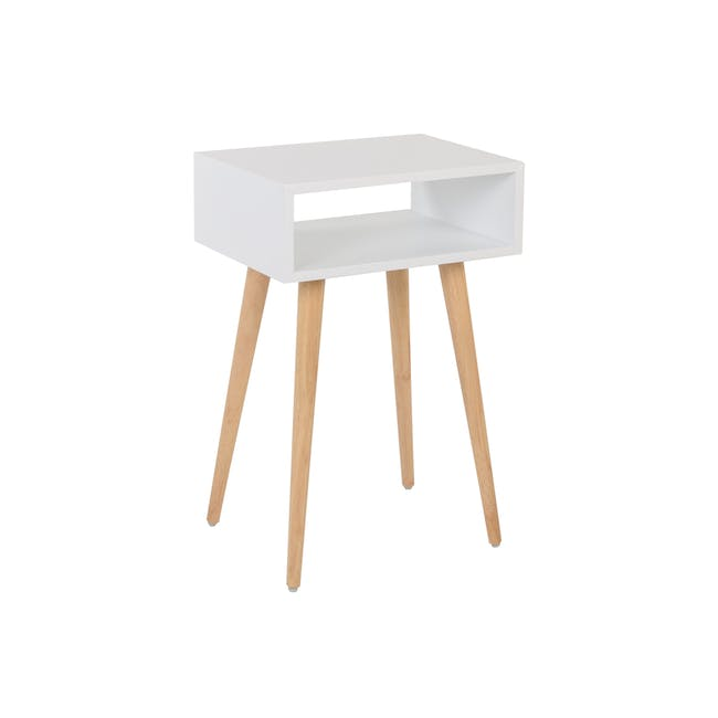 Katana Super Single Headboard Bed with 1 Bowen Bedside Table in Natural, White - 14