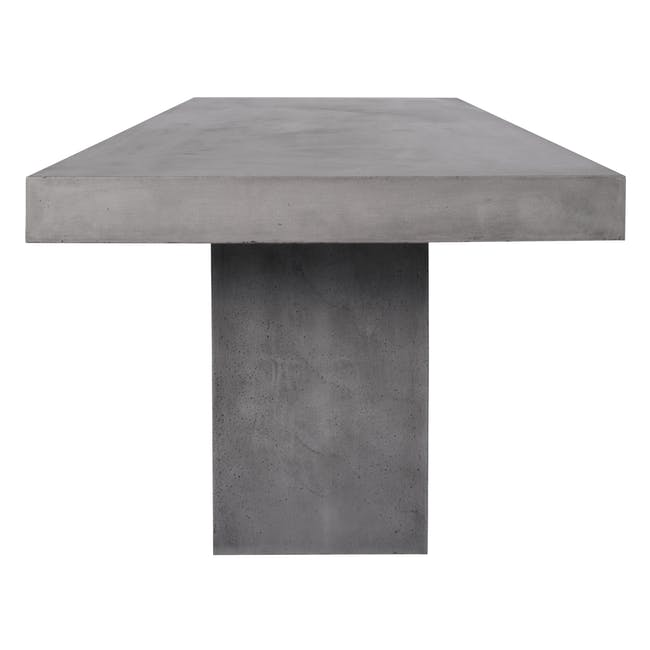 Ryland Concrete Dining Table 1.6m with 4 Edson Dining Armchairs in Titanium and Mocha Faux Leather - 3