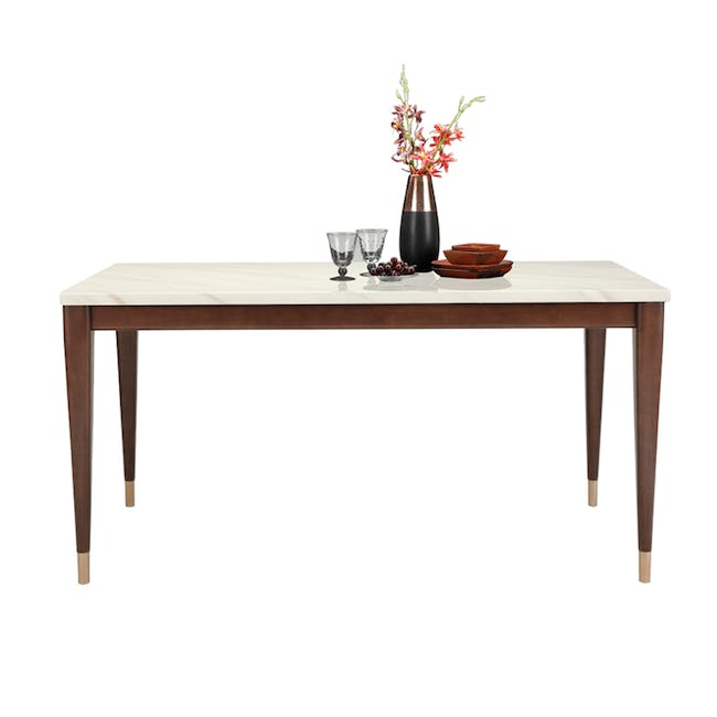Persis Marble Dining Table 1.5m - White, Walnut - 1