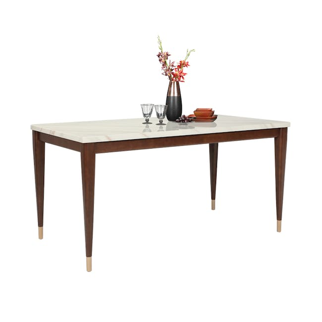 Persis Marble Dining Table 1.5m - White, Walnut - 3
