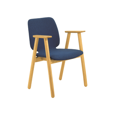 Missie Dining Arm Chair - Oak, Midnight Blue - Image 1