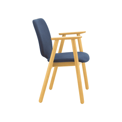 Missie Dining Arm Chair - Oak, Midnight Blue - Image 2