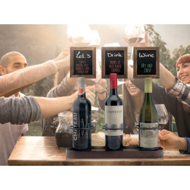 Securit Steel Triple Wine Bottle Display with Chalkboard - 3