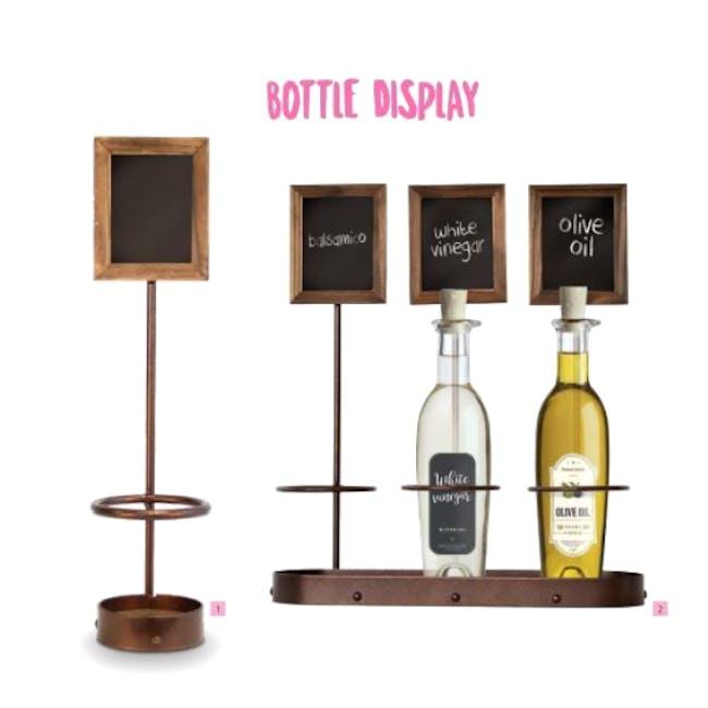 Securit Steel Triple Wine Bottle Display with Chalkboard - 4