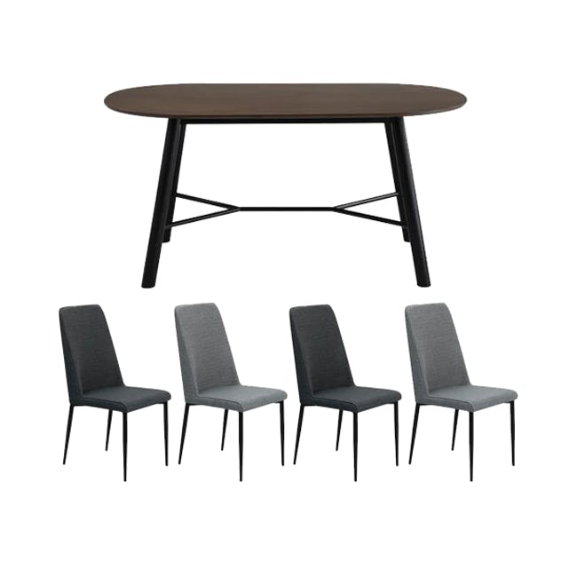 Telyn Oval Dining Table 1.6m with 4 Jake Dining Chairs in Oyster Grey and Carbon - 0