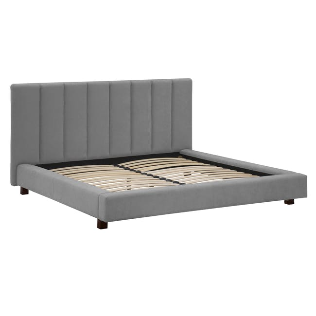 Elliot King Bed in Gray Owl with 2 Lewis Bedside Tables in Black, Ash Brown - 4